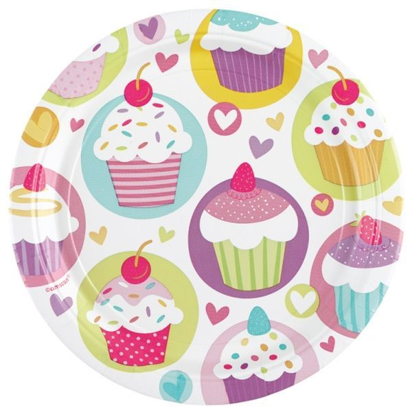 Image of   Stor paptallerken - Cupcakes (8 stk)