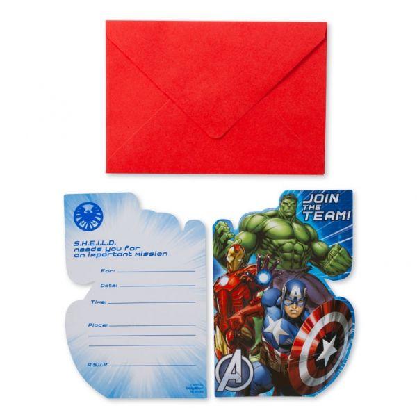 Fødselsdag invitation - Avengers (8 stk)