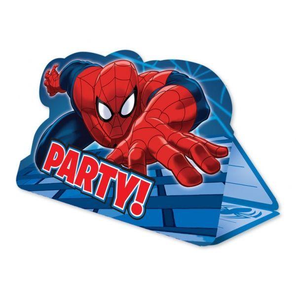 Fødselsdag invitation - Foldbar - Spiderman (8 stk)