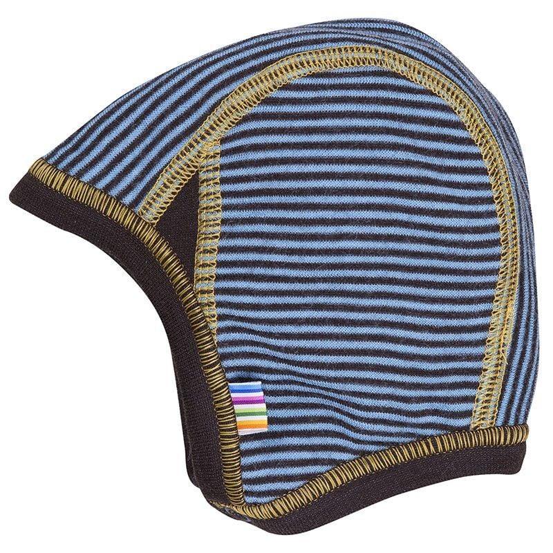 Image of   Hjelm i uld m. knap fra Joha - micro stripe - Petrolium/brun