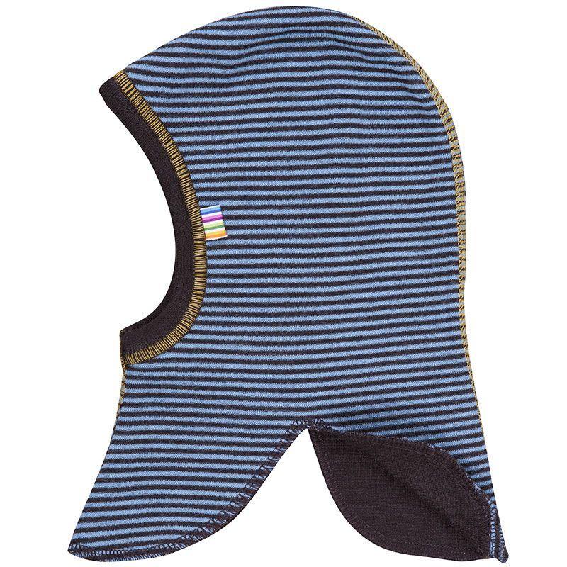 Uld elefanthue micro stripe Joha - vendbar - petrolium/brun