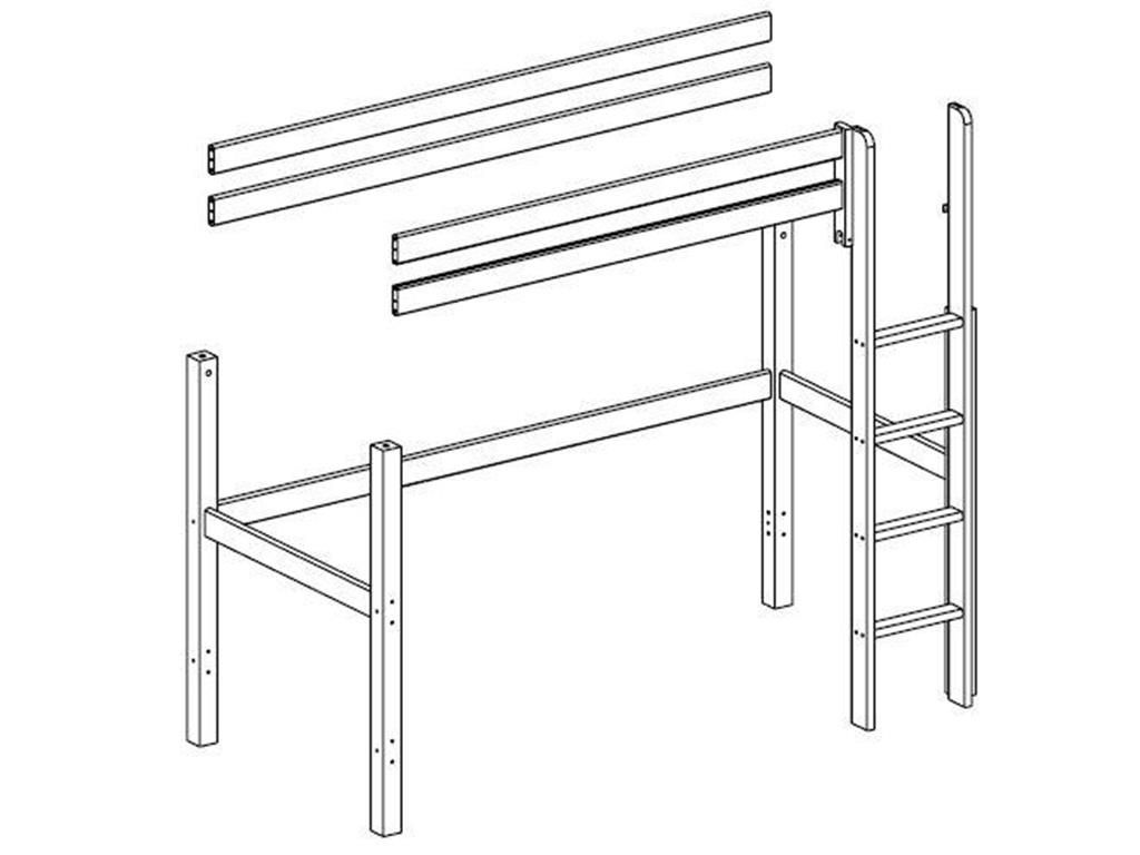 Image of   Højseng udvidelse til Flexa Trendy - Whitewash (200x90)