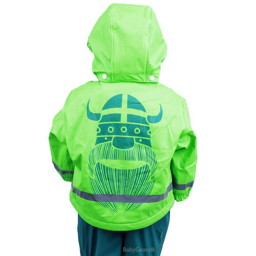 Regntøj m. thermofoer fra Danefæ  - Fluo Green/Green Viking