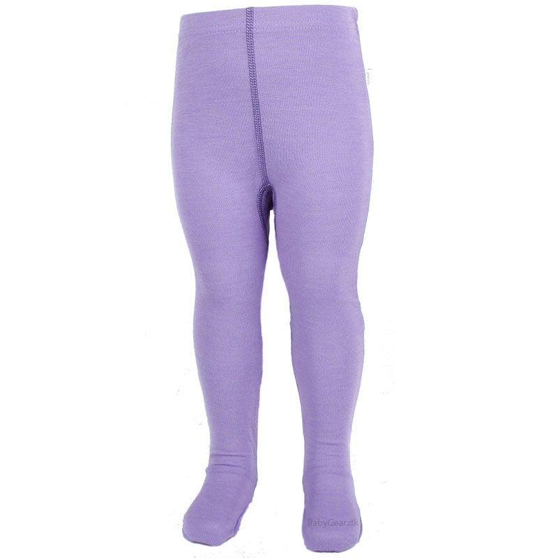Uld leggings / natbukser m. fod fra joha - uld / bomuld - lilla fra Joha på babygear.dk