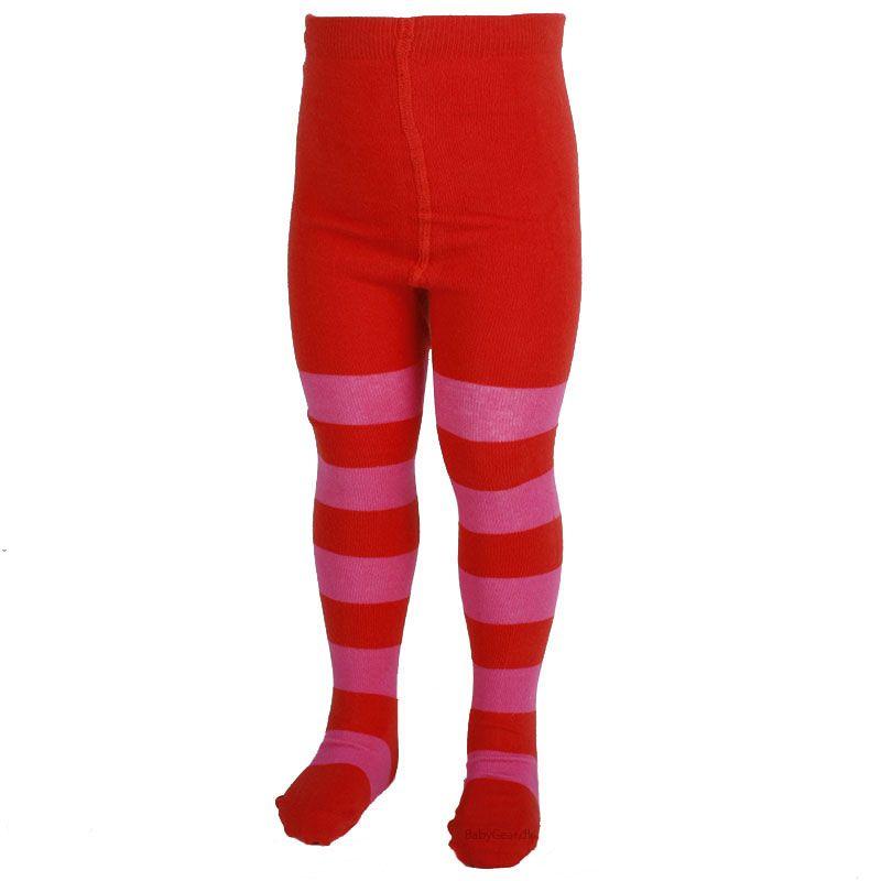 Strømpebukser fra mala - rød m. pink striber fra Mala på babygear.dk