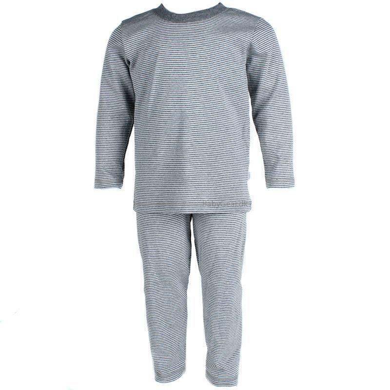 Image of   Nattøj fra Joha - Pyjamas - Hvid/Grå Stribet