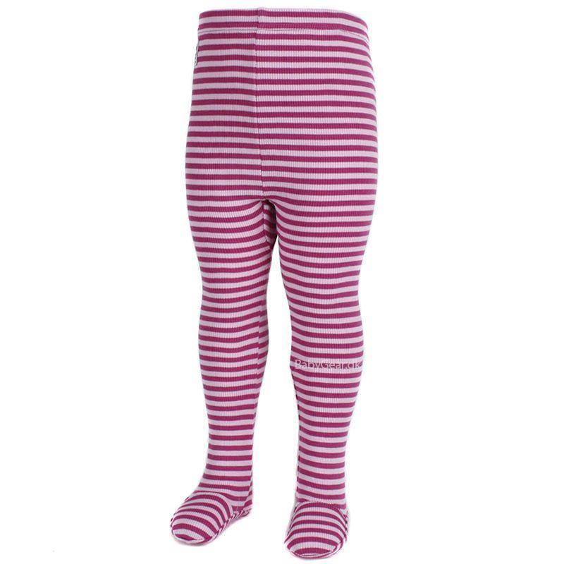 Leggings m. fod fra Pippi - Rib og Pink striber (Økotex 100)