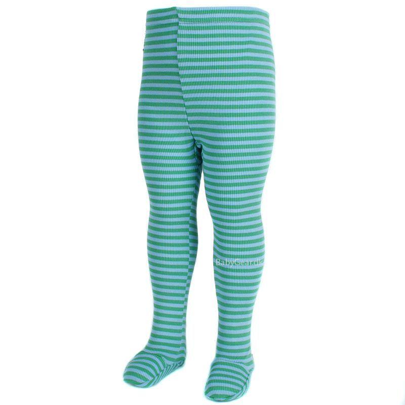 Image of   Leggings m. fod fra Pippi - Rib og Grønne striber (Økotex 100)