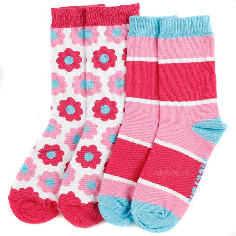 Strømper fra Melton - Mixn Match - Pink/Turkis (2 par)