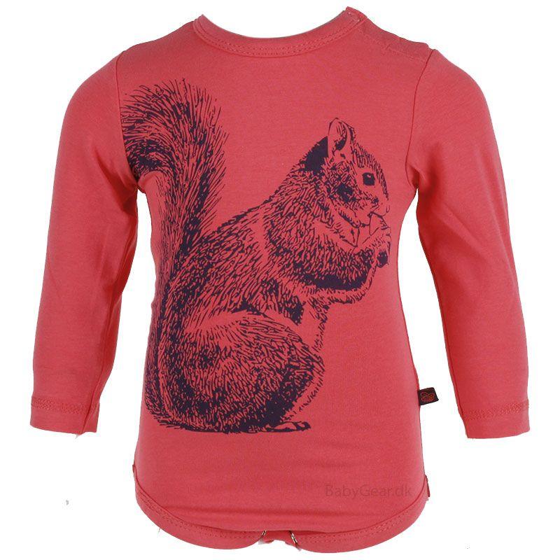 Body fra Pippi - Rød med Egern (Öko-Tex 100)
