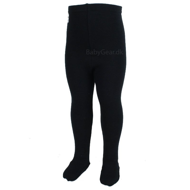 Image of   Leggings m. fod fra Pippi - Rib - Sort (Økotex 100)