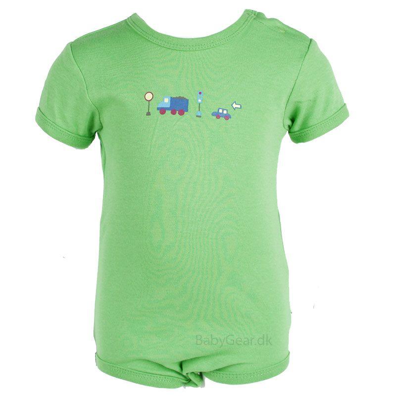 Billede af Body fra Pippi - korte ærmer - ensfarvet grøn (Økotex 100)