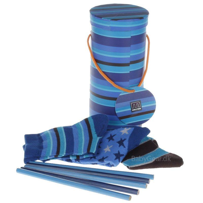 Image of   Melton gavesæt - strømper og blyanter - Blue