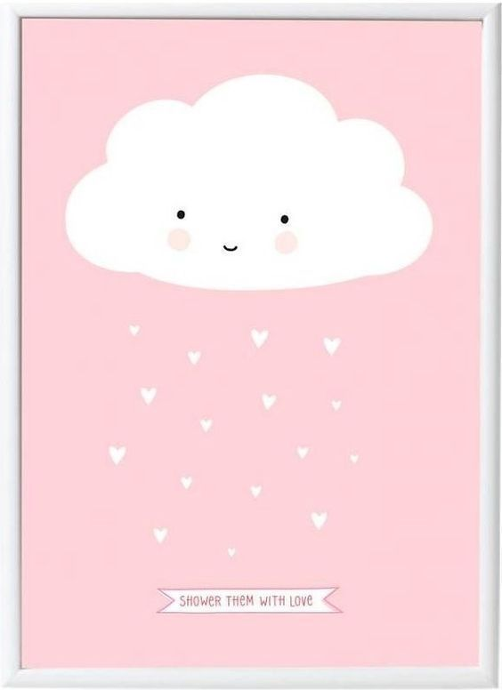 Image of Plakat fra A Little Lovely Company - Little Pink Cloud (50x70) (POCL013)