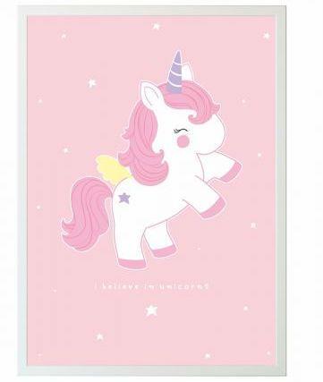 Image of Plakat fra A Little Lovely Company - Baby Unicorn (50x70) (POUNPI28)