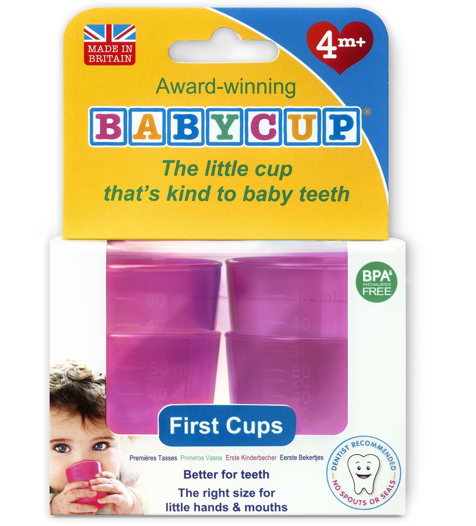Image of Baby drikkekop fra Babycup - Pink (4 x 50 ml) (BTFC_pink)