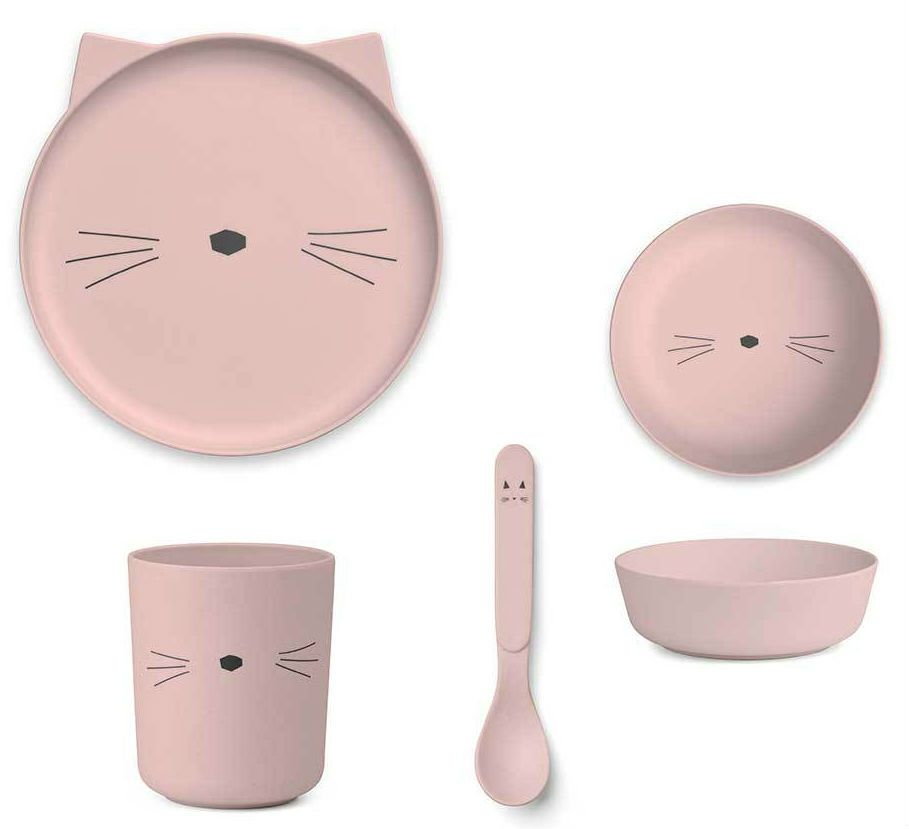 Image of   Spisesæt fra Liewood - Bambus - Rosa kat