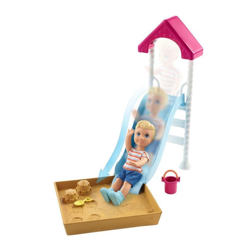 Image of Barbie Skipper babysitter tilbehør - Legeplads m. toddler (BBE-TOY33_legeplads)