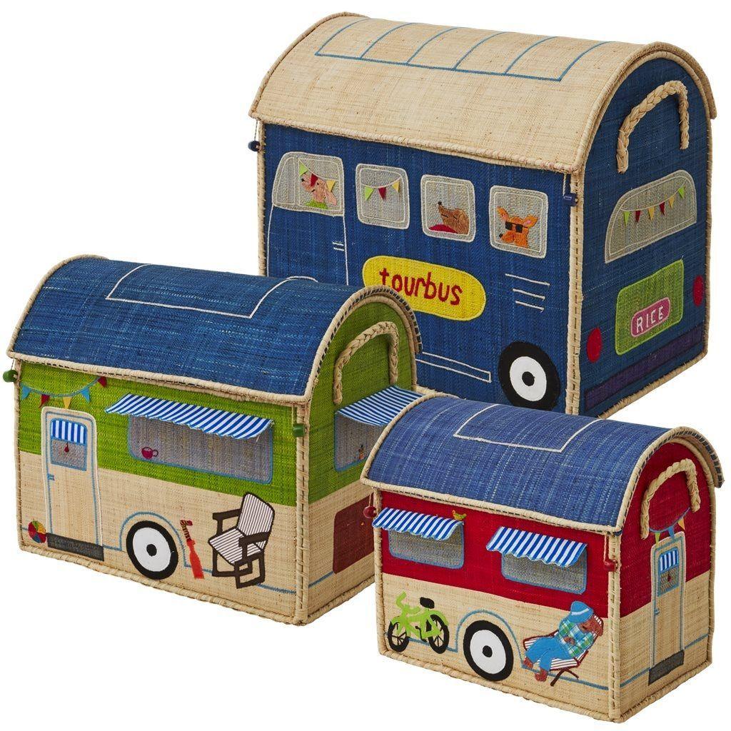 Legetøjskasser fra Rice - Sæt - Happy Camper (3 stk)