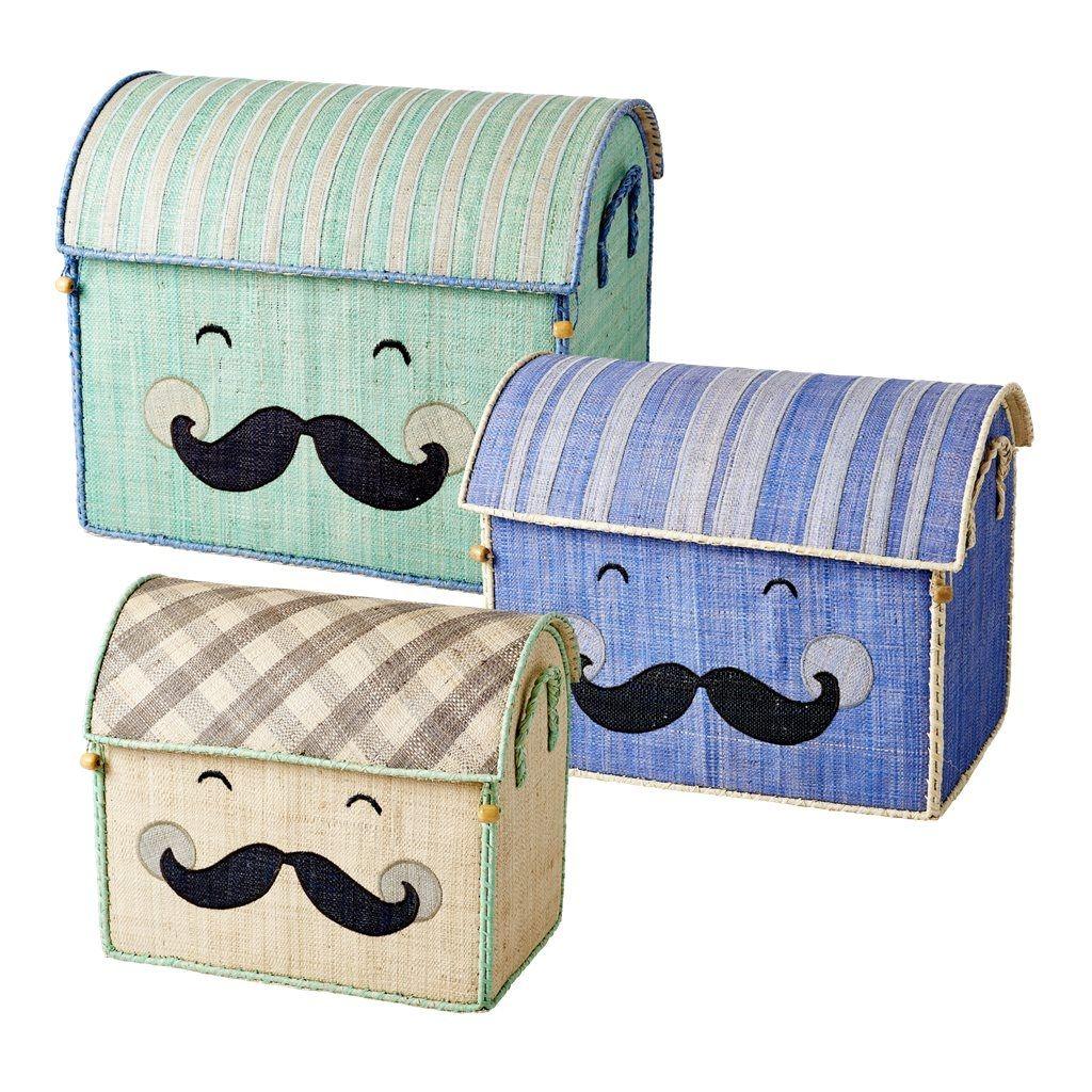 Legetøjskasser fra Rice - Sæt - Smiling Moustache (3 stk)