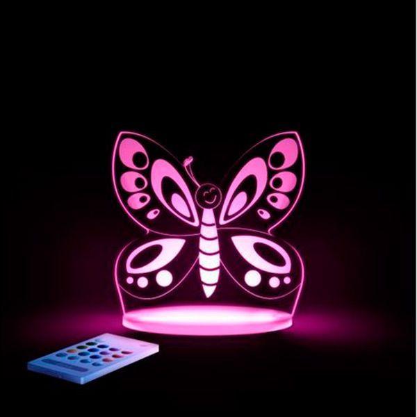 Aloka sleepy lights – Aloka natlampe m. fjernbetjent regnbue lys - sommerfugl på babygear.dk