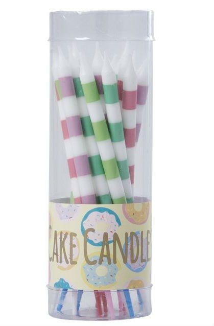 Image of   Fødselsdagslys fra Rice - Cake Candles - Pastel Stripes (16 stk)