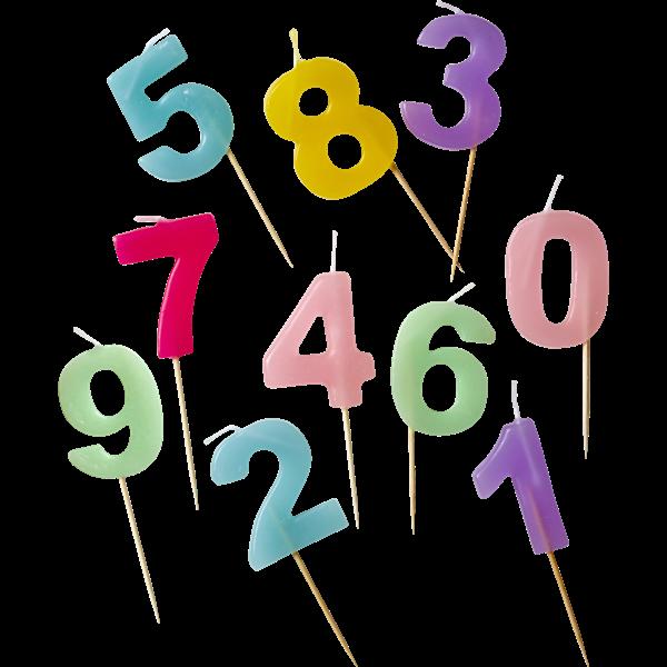 Image of Fødselsdagslys fra Rice - Assorterede pastelfaver (1 stk) (CDNUM-PASXC)