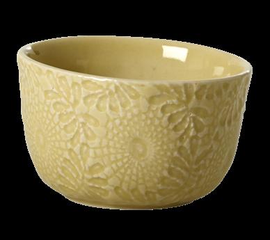 Image of Dip skål fra RICE- Keramik - Blomsterpræget - Spicy Yellow (CEBWL-EMXC_Lime)