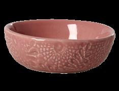 Dip skål fra RICE- Keramik - Blomsterpræget - Koral
