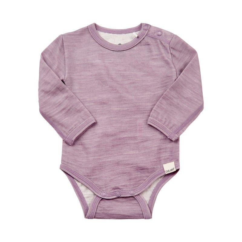 Image of   Body fra Celavi - Lange ærmer - Uld/Bambus - Purple Ash