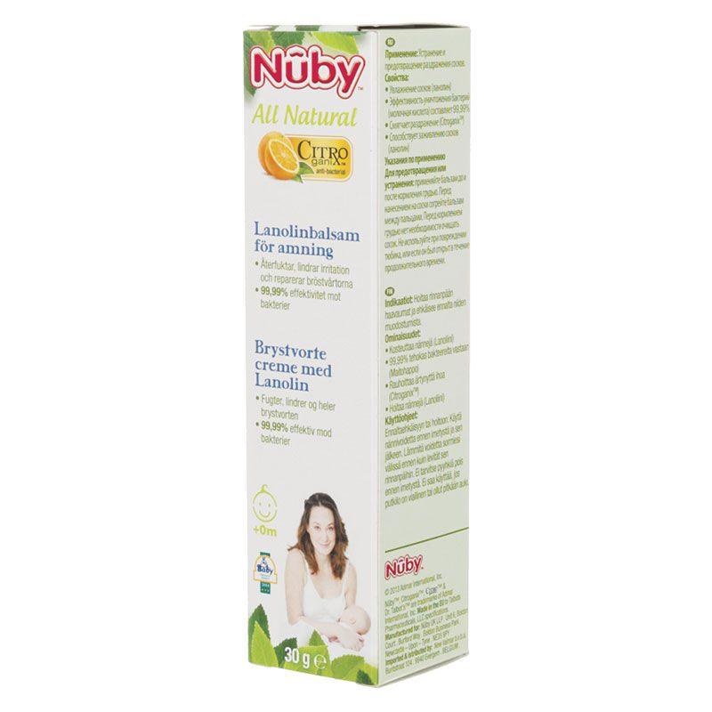 Nuby Brystvorte lanolin salve fra nuby citroganix på babygear.dk