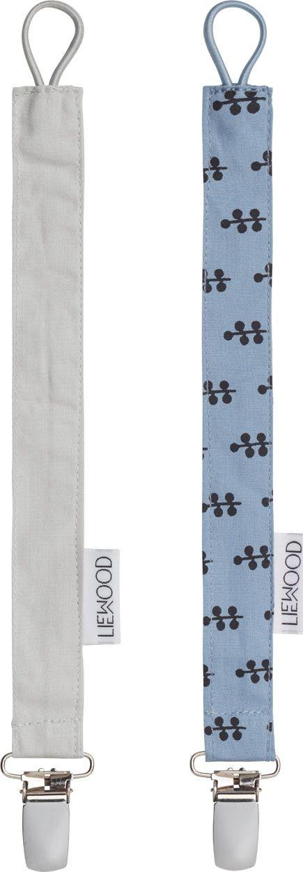 Image of   Suttekæde fra Liewood - Ea - Flower Dusty Blue/Dumbo Grey (2 stk)