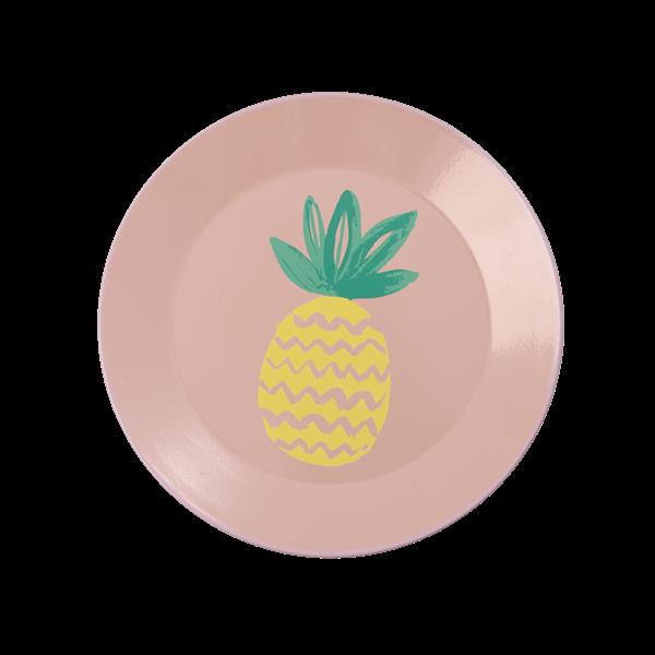 Image of   Emaljetallerken fra Rice - Coral Pineapple Print