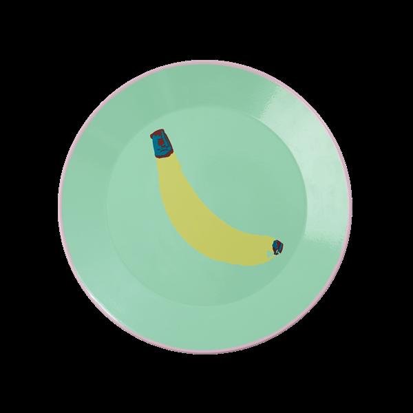 Emaljetallerken fra Rice - Pastel Green Banana Print