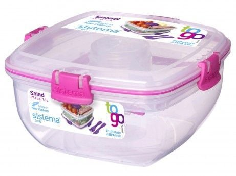 Salad ToGo madkasse fra Sistema (1,1L) - Pink Accent