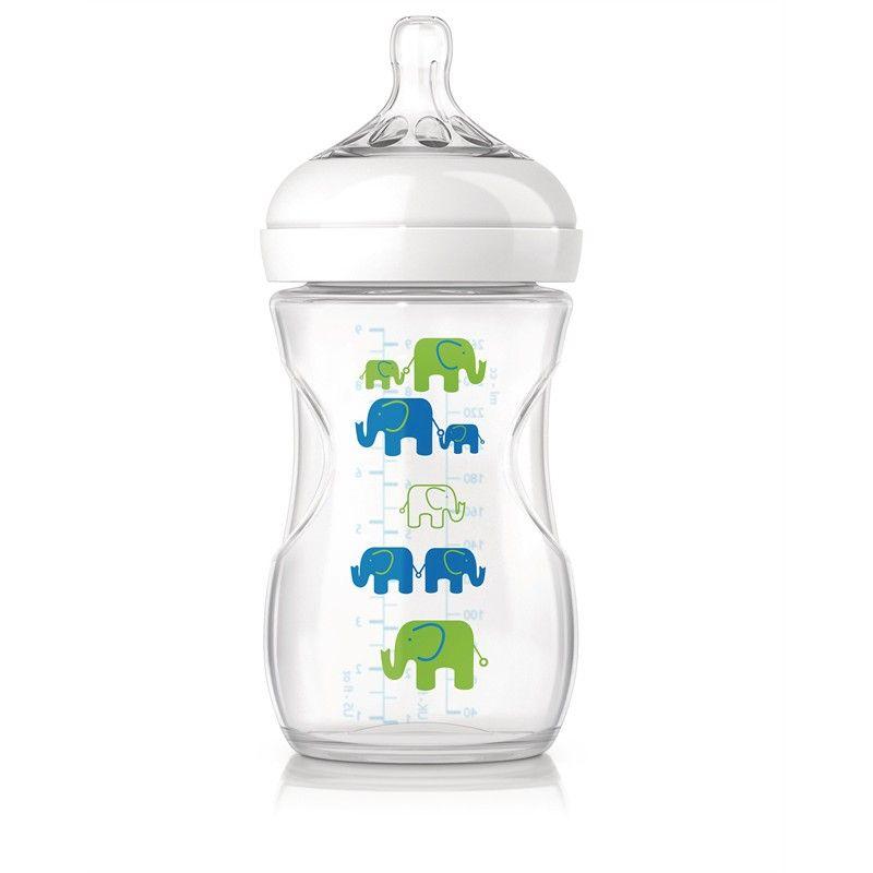 Image of   Sutteflaske fra Philips AVENT - PP - Natural - 1m+ - Blå elefanter
