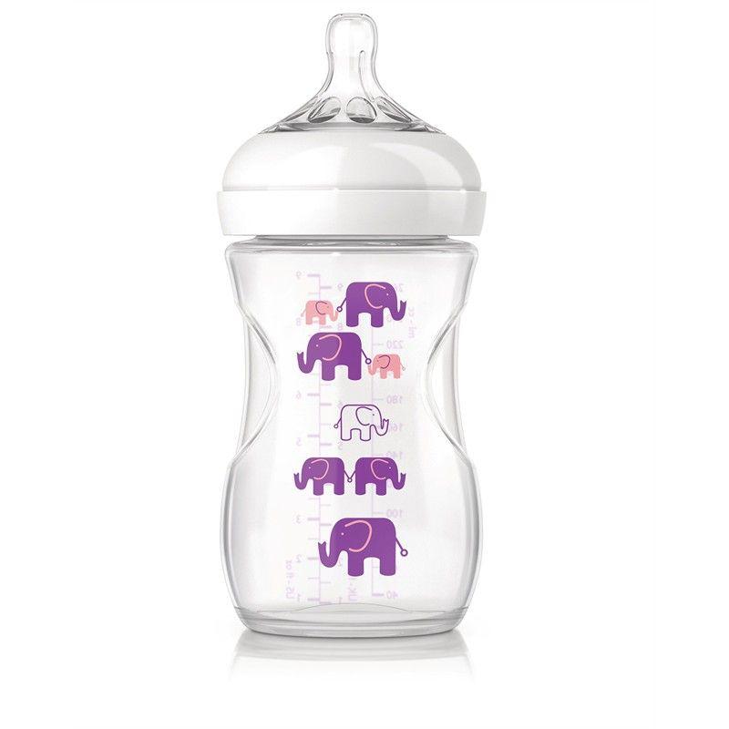 Image of   Sutteflaske fra Philips AVENT - PP - Natural - 1m+ - Lilla elefanter