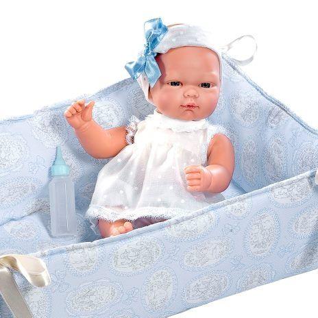 Image of Babydukke fra Así - Blød krop - Oli i blå seng (30 cm) (24453821)
