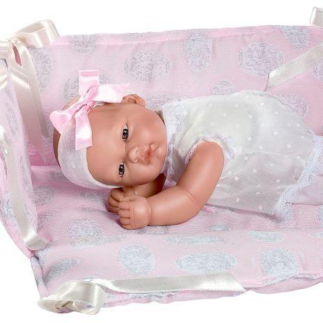 Image of Babydukke fra Así - Blød krop - Oli i rosa seng (30 cm) (24453820)