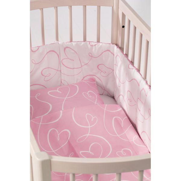 Sengerand fra BabyDan - Halv længde - Hearts Pink (Øko-Tex100)