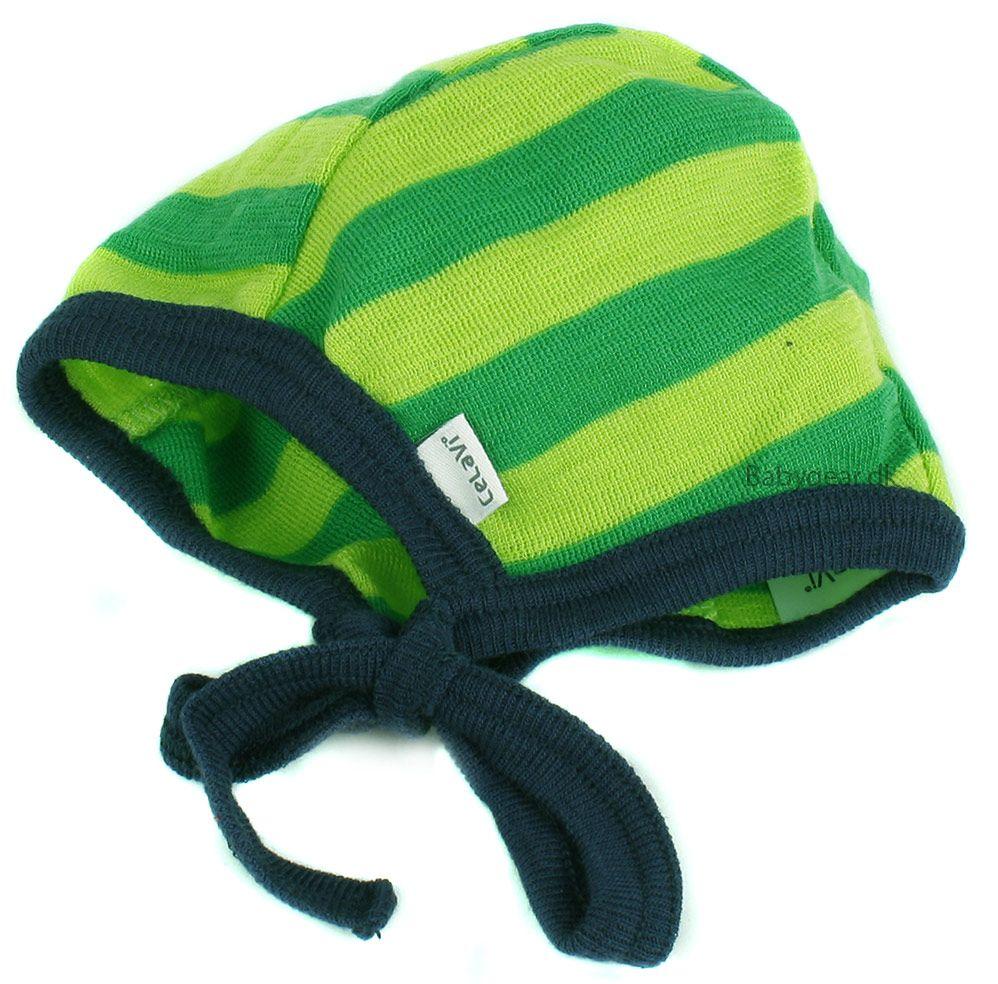 Image of   Baby hjelm i uld fra Celavi - Grønne striber