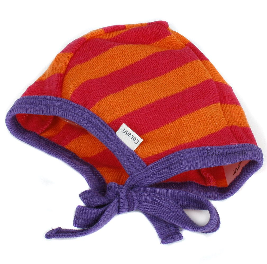 Image of   Baby hjelm i uld fra Celavi - Bright Rose striber