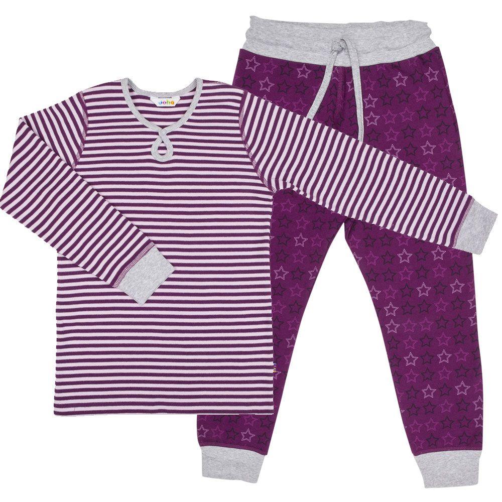 Image of   Pyjamas fra Joha - Striber og Stjerner - Bordeaux / grå