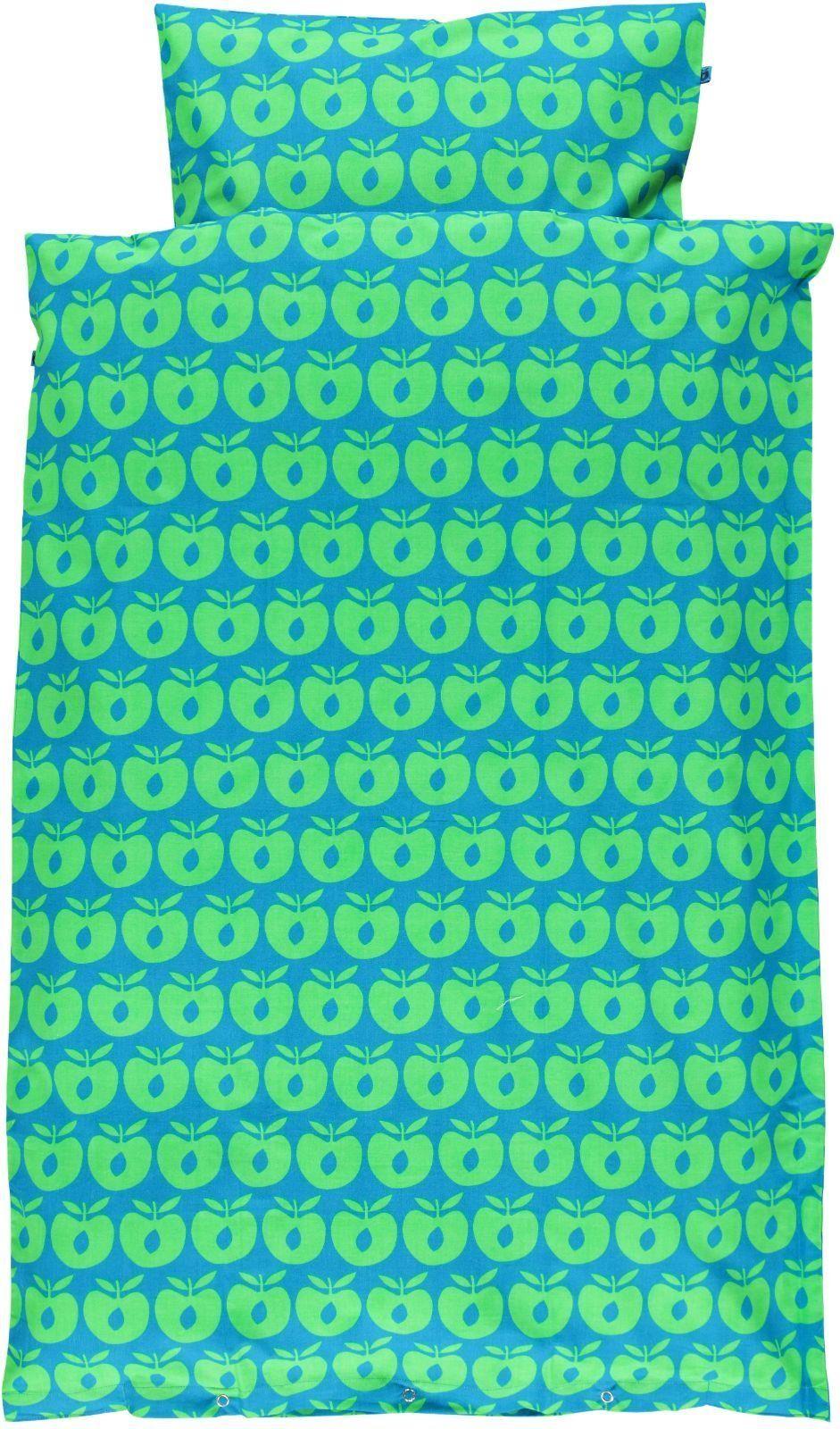 Image of   Sengetøj fra Småfolk - Turkis m. grønnne æbler - Baby