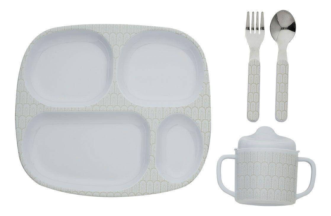 Spisesæt fra filibabba - melamin - startsæt - indian warm grey fra Filibabba på babygear.dk