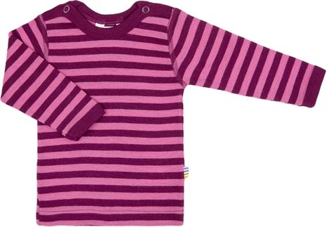 Image of   Uld trøje fra Joha - Block Stripe - Fuchsia/Bordeaux