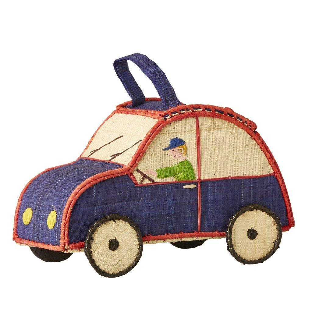 Kurv fra Rice - Bil - Kids Car Shaped Raffia Bag