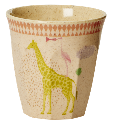 Image of   Krus fra RICE - Bambus melamin - Lille - Rosa giraf