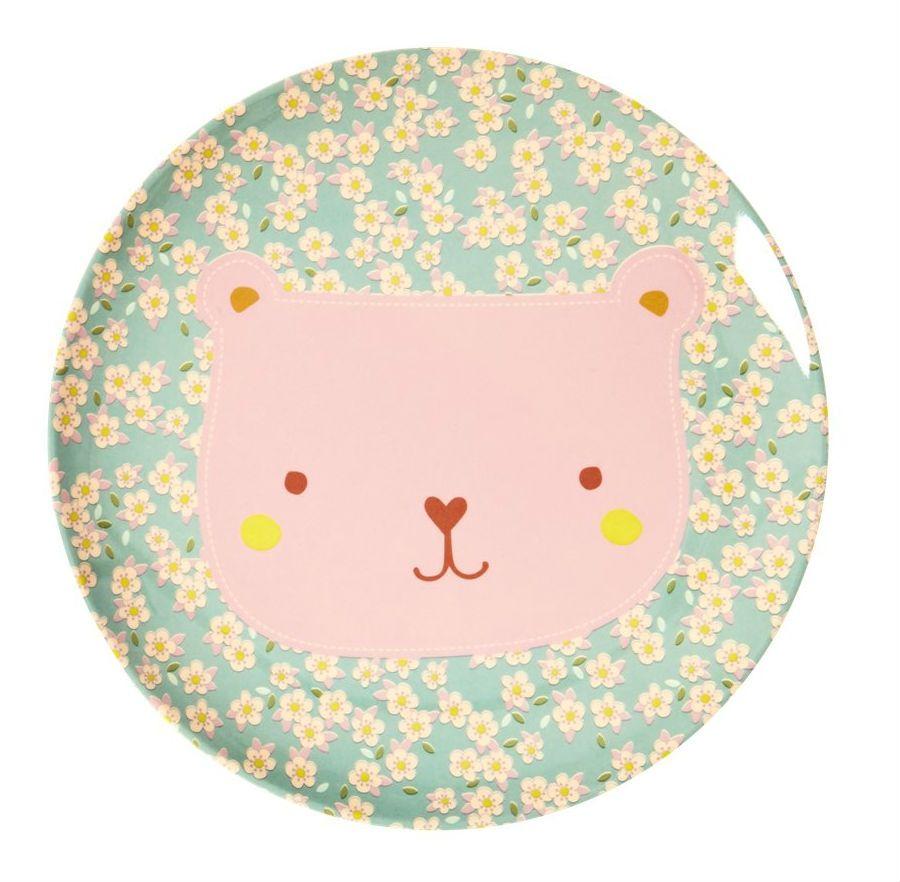 Image of   Tallerken m. søde dyr fra Rice - Mellem - Turkis m. rosa bjørn
