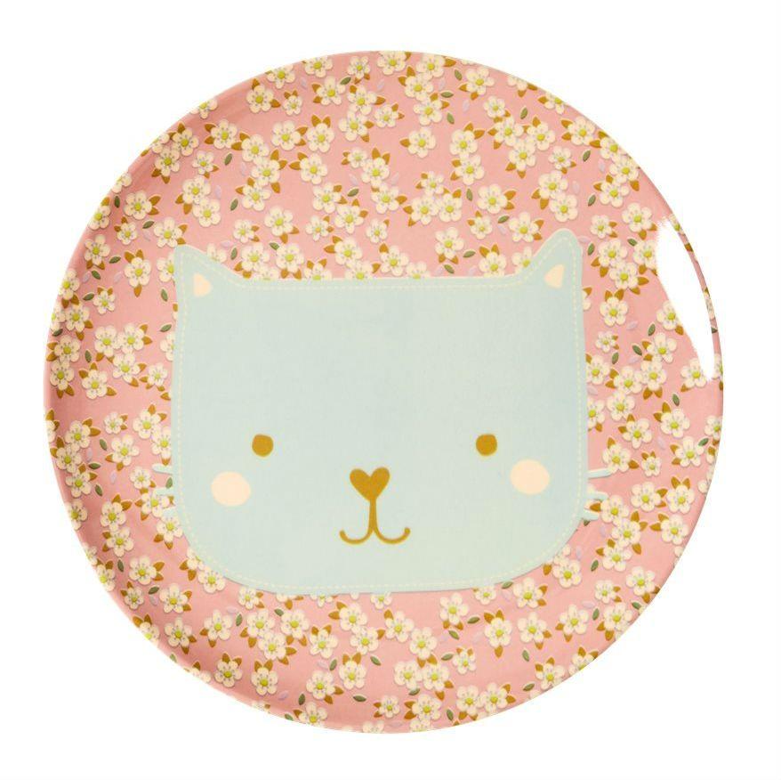 Image of   Tallerken m. søde dyr fra Rice - Mellem - Rosa m. kat